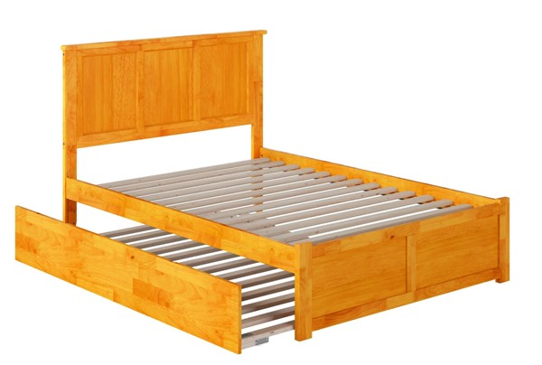 Atlantic Furniture Madison Caramel Full Platform Urban Trundle Bed with Flat Panel Footboard AR8632057