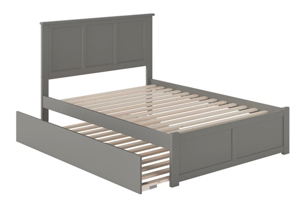 Atlantic Furniture Madison Grey Full Bed with Flat Panel Foot Board and Full Urban Trundle AR8632059