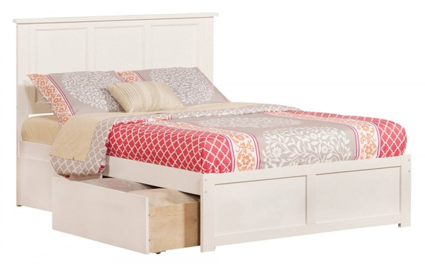 Madison White Wood Flat Panel Footboard And 2 Urban Drawers Full Bed AR8632112