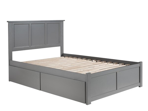 Atlantic Furniture Madison Grey Full Platform Bed with 2 Urban Drawers AR8632119