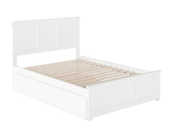 Atlantic Furniture Madison White Full Bed with Matching Foot Board and Full Urban Trundle AR8636052