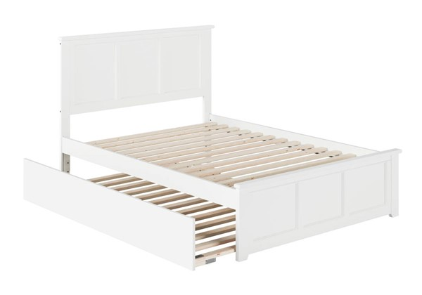 Atlantic Furniture Madison White Full Platform Urban Trundle Bed with Matching Footboard AR8636052