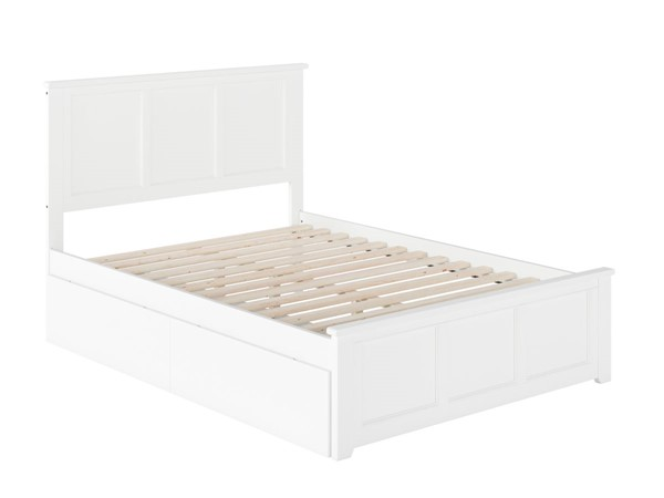 Atlantic Furniture Madison White Full Bed with Matching Foot Board and 2 Urban Drawers AR8636112