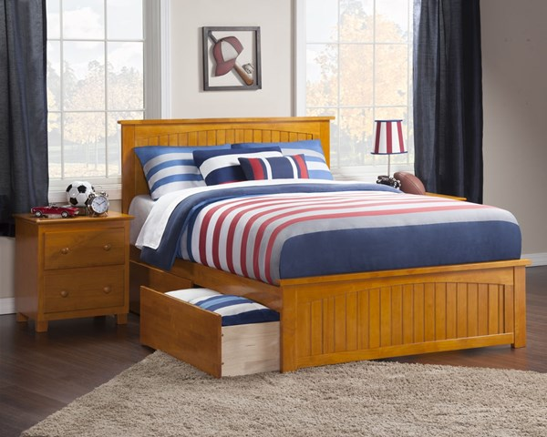 Atlantic Furniture Madison Caramel Latte Matching Footboard and Two Urban Drawers Full Bed AR8636117