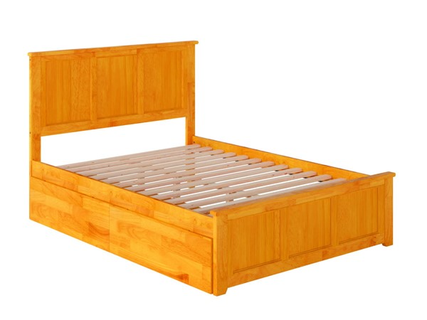 Atlantic Furniture Madison Caramel Full Bed with Matching Foot Board and 2 Urban Drawers AR8636117