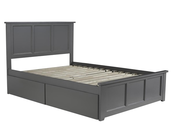Atlantic Furniture Madison Grey Full Bed with Matching Foot Board and 2 Urban Drawers AR8636119