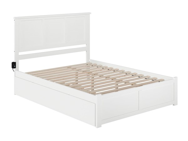 Atlantic Furniture Madison White Queen Bed with Twin XL Trundle AR8642042