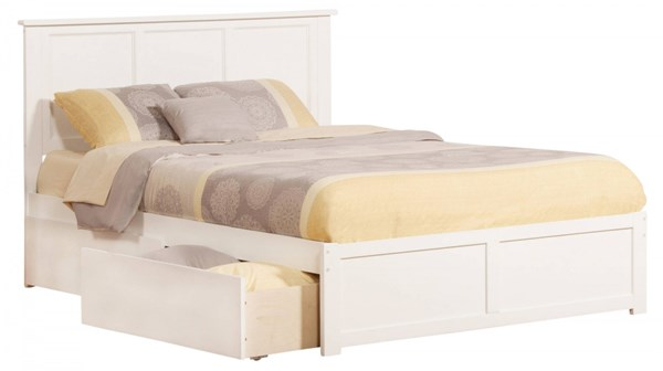 Madison White Wood Flat Panel Footboard & Urban Drawers Queen Bed AR8642112