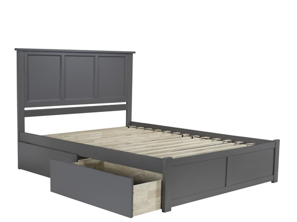 Atlantic Furniture Madison Grey Queen Platform Bed with 2 Urban Drawers AR8642119