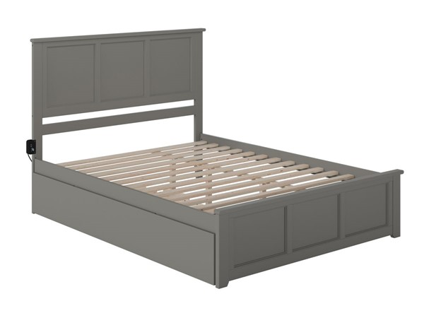 Atlantic Furniture Madison Grey Queen Bed with Matching Footboard and Twin XL Trundle AR8646049