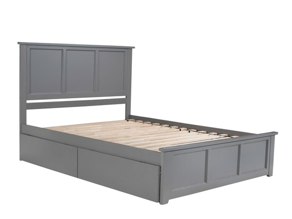 Atlantic Furniture Madison Grey Queen Bed with Matching Foot Board and 2 Urban Drawers AR8646119