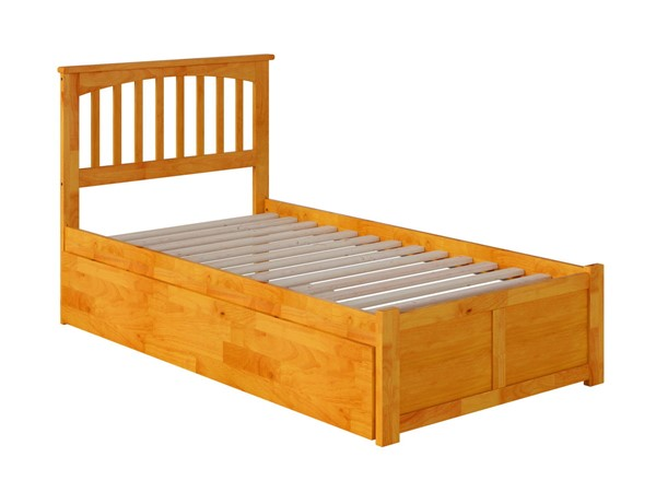 Atlantic Furniture Mission Caramel Twin XL Bed with Footboard and Twin XL Trundle AR8712047