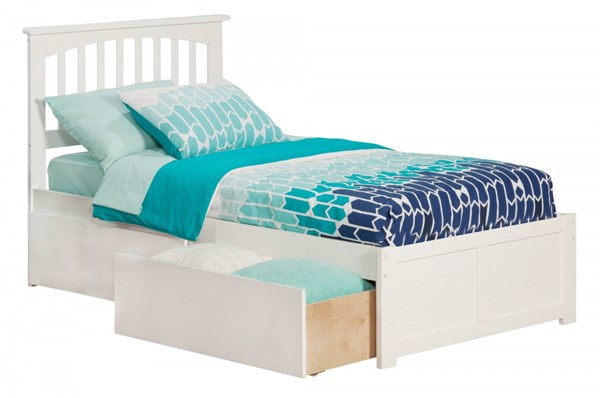 Mission White Wood Flat Panel Footboard & Urban Drawers Twin XL Bed AR8712112