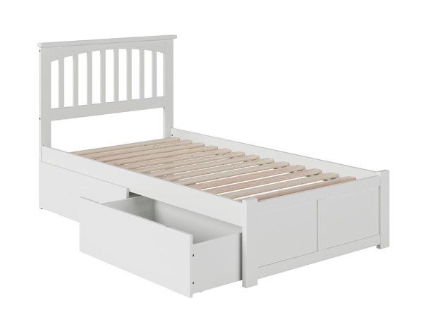 Atlantic Furniture Mission White Flat Panel Footboard and Two Urban Drawers Twin XL Bed AR8712112