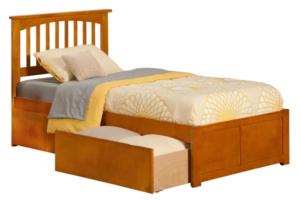 Mission Caramel Latte Flat Panel Footboard & Urban Drawers Twin XL Bed AR8712117