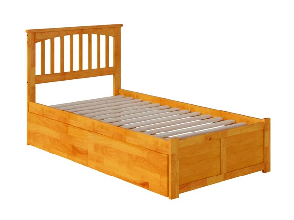 Atlantic Furniture Mission Caramel Twin XL Bed with Flat Panel Foot Board and 2 Urban Drawers AR8712117