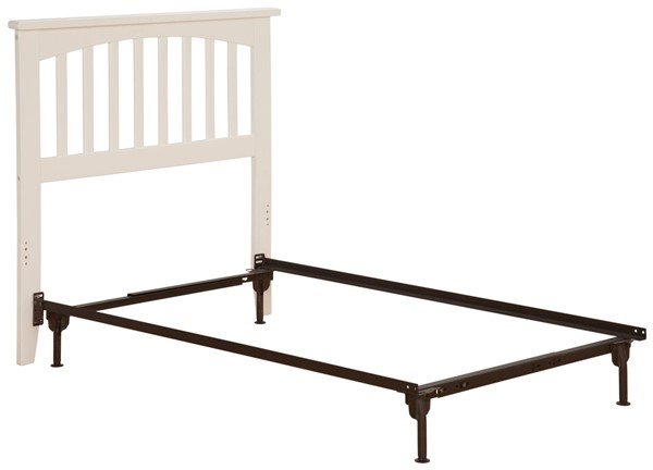 Atlantic Furniture Mission White Twin Headboard with Metal Bed Frame AR8720102