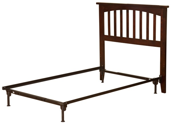 Atlantic Furniture Mission Antique Walnut Twin Headboard with Metal Bed Frame AR8720104
