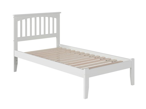 Atlantic Furniture Mission White Twin Bed with Open Foot Rail AR8721002