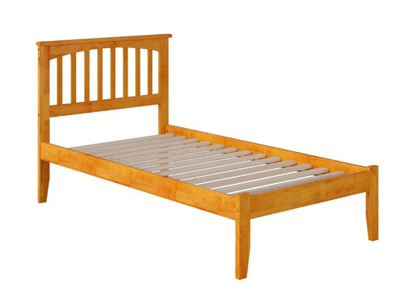 Atlantic Furniture Mission Caramel Latte Twin Bed with Open Foot Rail AR8721007
