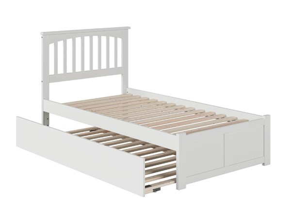 Atlantic Furniture Mission White Flat Panel Footboard and Urban Trundle Twin Bed AR8722012