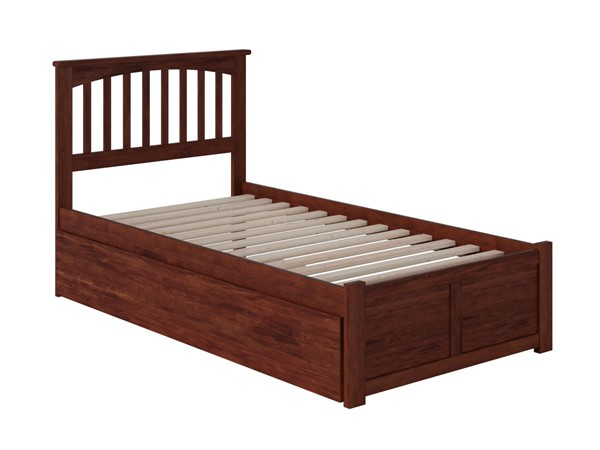 Atlantic Furniture Mission Walnut Flat Panel Footboard and Urban Trundle Twin Bed AR8722014