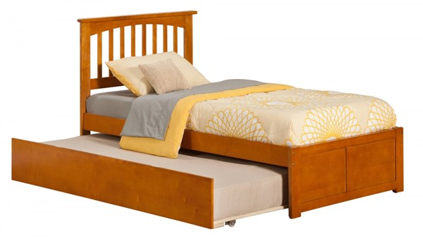 Mission Caramel Latte Flat Panel Footboard & Urban Trundle Twin Bed AR8722017