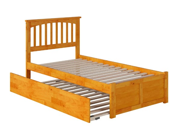 Atlantic Furniture Mission Caramel Latte Flat Panel Footboard and Urban Trundle Twin Bed AR8722017