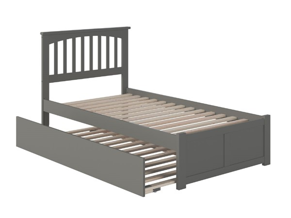 Atlantic Furniture Mission Grey Twin Platform Bed with Urban Trundle AR8722019