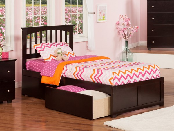 Atlantic Furniture Mission Flat Panel Footboard and Two Urban Drawers Beds AR87-KBEDS-VAR2