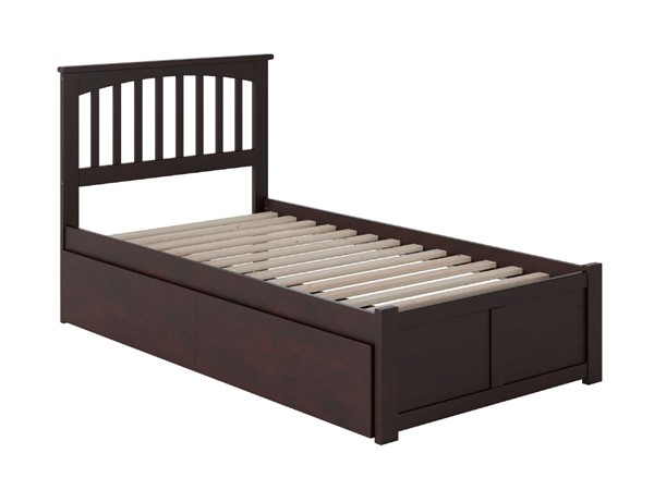 Atlantic Furniture Mission Espresso Twin Bed with Flat Panel Foot Board and 2 Urban Drawers AR8722111