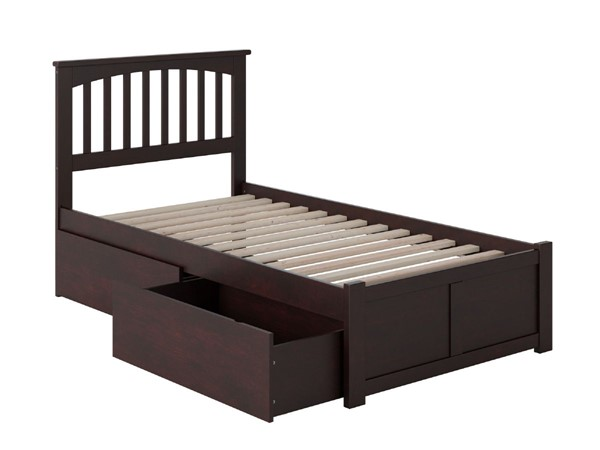 Atlantic Furniture Mission Espresso Flat Panel Footboard and Two Urban Drawers Twin Bed AR8722111