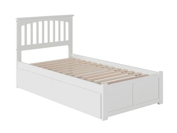 Atlantic Furniture Mission White Twin Bed with Flat Panel Foot Board and 2 Urban Drawers AR8722112