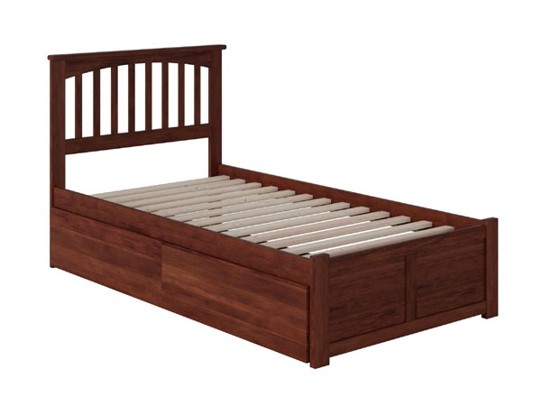 Atlantic Furniture Mission Walnut Twin Bed with Flat Panel Foot Board and 2 Urban Drawers AR8722114