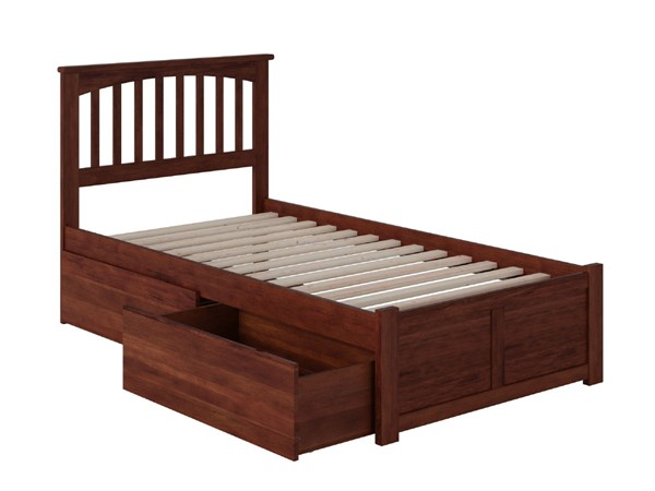 Atlantic Furniture Mission Walnut Flat Panel Footboard and Two Urban Drawers Twin Bed AR8722114