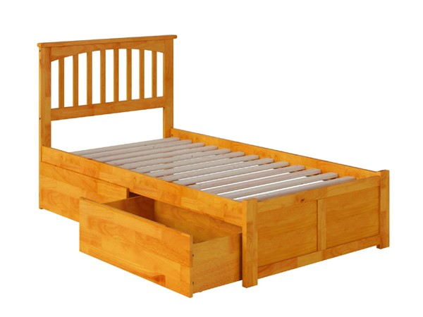Atlantic Furniture Mission Caramel Latte Flat Panel Footboard and Two Urban Drawers Twin Bed AR8722117
