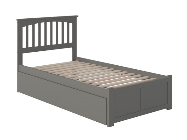 Atlantic Furniture Mission Grey Twin Bed with Flat Panel Foot Board and 2 Urban Drawers AR8722119