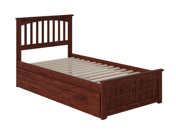 Atlantic Furniture Mission Walnut Twin Bed with Matching Foot Board and Twin Urban Trundle AR8726014