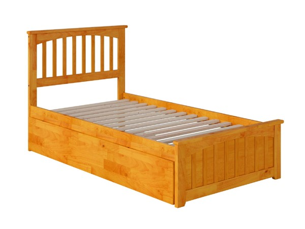 Atlantic Furniture Mission Caramel Twin Bed With Matching Foot Board And Twin Urban Trundle AR8726017
