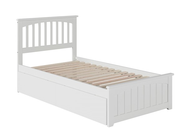 Atlantic Furniture Mission White 2 Urban Drawers Twin Bed with Matching Foot Board AR8726112