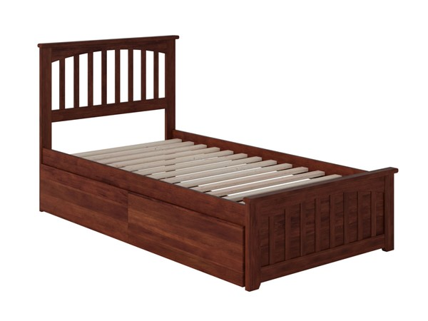 Atlantic Furniture Mission Walnut 2 Urban Drawers Twin Bed with Matching Foot Board AR8726114