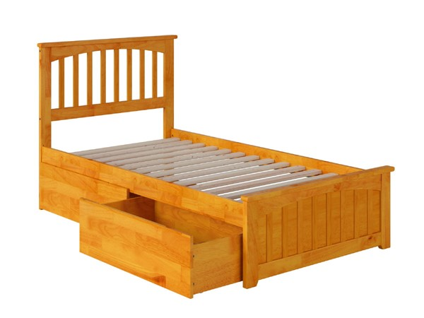 Atlantic Furniture Mission Caramel Latte Matching Footboard and Two Urban Drawers Twin Bed AR8726117