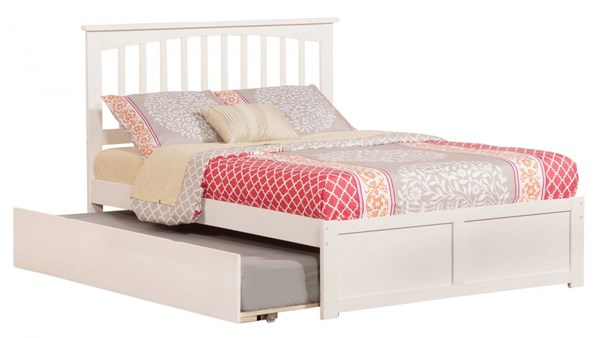 Mission White Wood Flat Panel Footboard & Urban Trundle Full Bed AR8732012