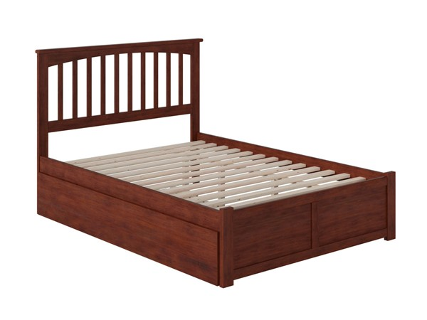 Atlantic Furniture Mission Walnut Flat Panel Footboard and Urban Trundle Full Bed AR8732014