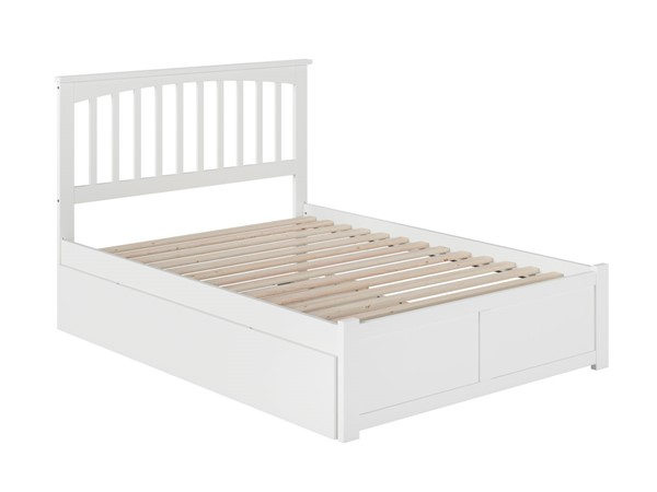Atlantic Furniture Mission White Full Bed with Flat Panel Foot Board and Full Urban Trundle AR8732052