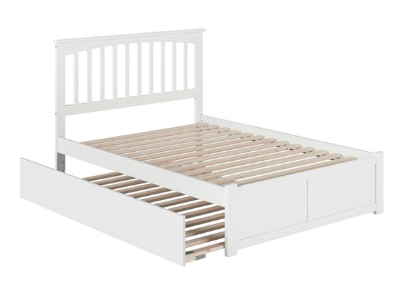 Atlantic Furniture Mission White Full Platform Urban Trundle Bed with Flat Panel Footboard AR8732052