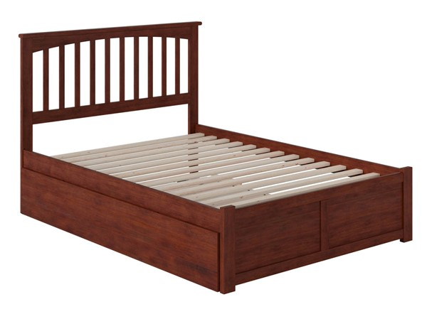 Atlantic Furniture Mission Walnut Full Bed with Flat Panel Foot Board and Full Urban Trundle AR8732054
