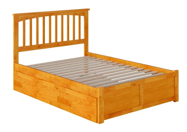 Atlantic Furniture Mission Caramel Full Bed with Flat Panel Foot Board and Full Urban Trundle AR8732057