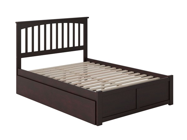Atlantic Furniture Mission Espresso Full Bed with Flat Panel Foot Board and 2 Urban Drawers AR8732111