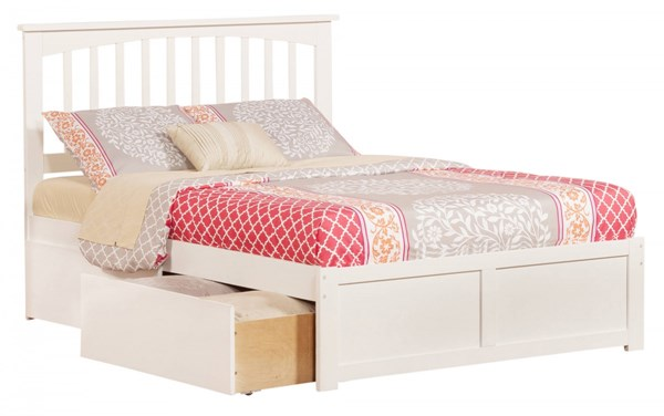 Mission White Wood Flat Panel Footboard & Urban Drawers Full Bed AR8732112